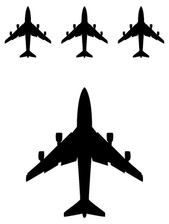black airplane silhouette in vector, travel icon Vector