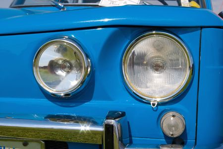 two headlight in blue european vintage car