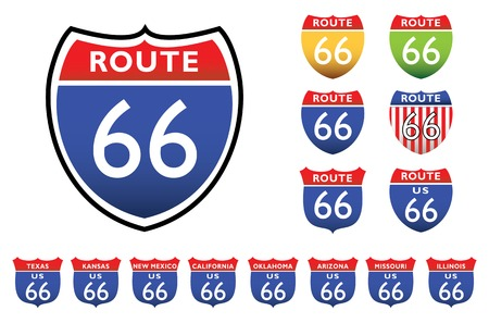 desert road: road signs with 66 route, all the 8 states
