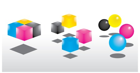 CMYK colors dots and squres with shadow reflect  Vectores