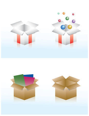 set of four boxes for packaging  and gifts Vector
