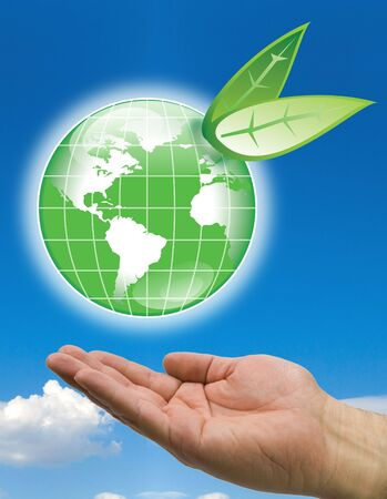 hands with green world ecology concept Stock Photo - 3444748