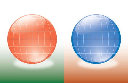 set of two world hemispheres red and blue