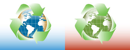 set of two worlds recycle eco friendly Vector