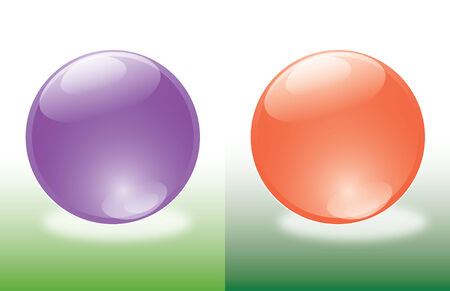 set of two balls purple and red on green background Vector