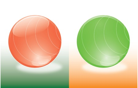 green lines: balls red and green with lines like hemispheres