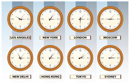 zone: muur tijd klokken van 8 locaties in de wereld Stock Illustratie