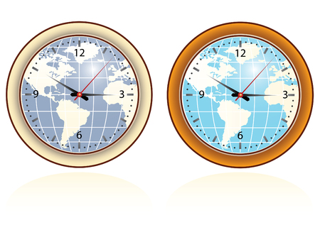 set of two wall clocks with world map Vector