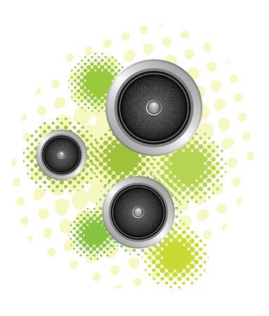 set of three speakers in gounge background Vector
