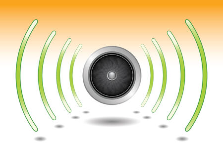 speaker waves of sound, turn on the volume Vector