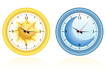 night: day and night set of two clocks, time!!!