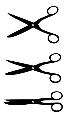 scissors icon: three shadow scissors open to close move