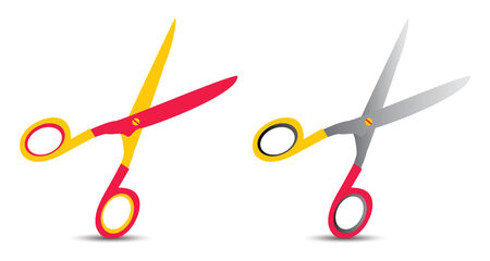 set of two scissors on red, silver and yellow Vector