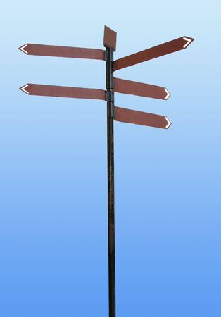 lost in space: direction sign on blue, find your way Stock Photo