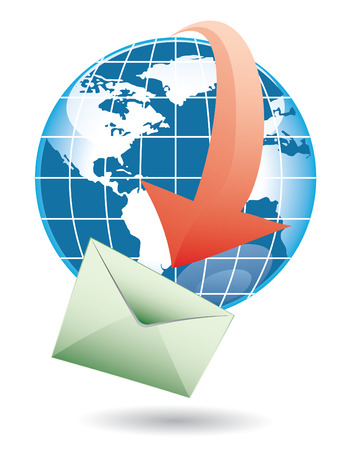 world email on green delivery with red arrow