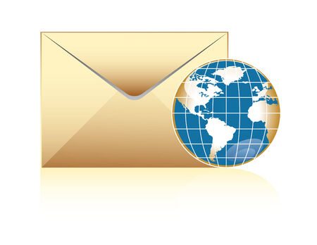 global mail concept, envelope and world delivery Vector