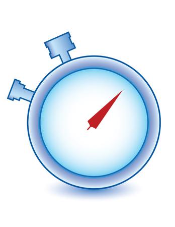 chronometer in blue and red colors, time!!! Ilustração