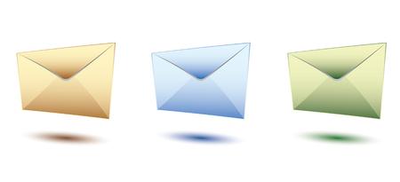 drie yeloow, blauw en groen set enveloppen