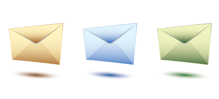 yeloow: three yeloow, blue and green set of envelopes