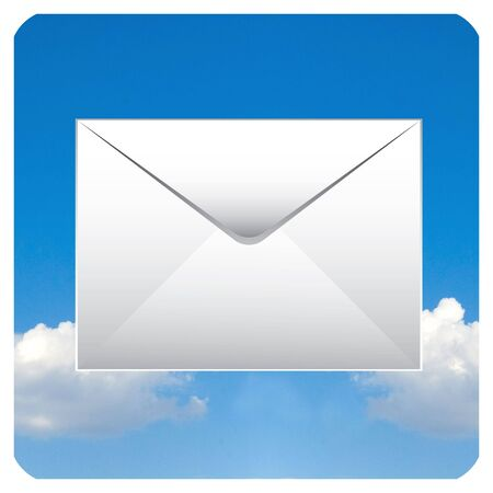 personal computer: mail icon with clouds for smart phone or personal computer