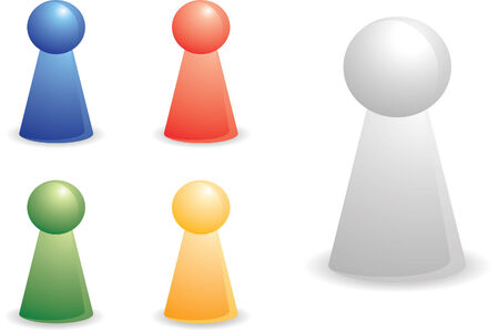 diverse business team: color person plastic pieces for abstract concept