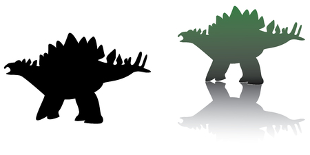 set of  stegosaurus in black and green colors Vector