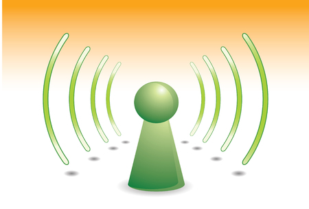 color person on green with wifi network  communication  Vector