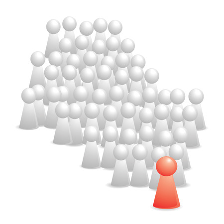 color white group follow the leader on red Vector