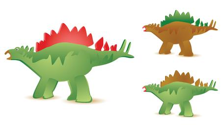 set of three stegosaurus in diffferent colors Stock Vector - 3608397