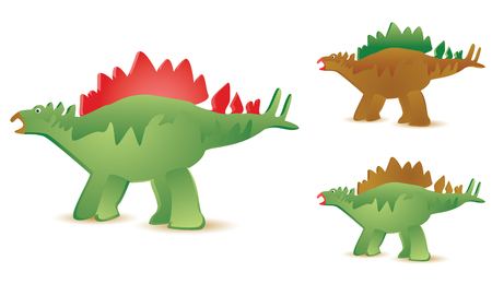 set of three stegosaurus in diffferent colors Stock Vector - 3608397