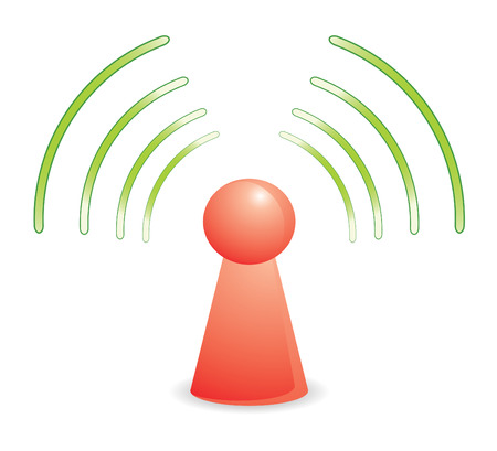color person on red wifi network Vector