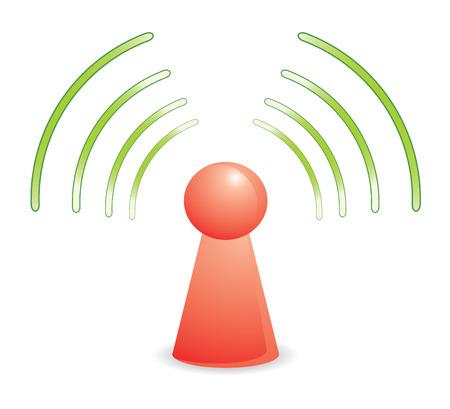 kleur persoon op rood wifi netwerk Stock Illustratie
