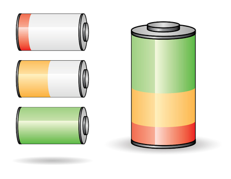 set of four batteries from empty to full charge Stock Vector - 3620088
