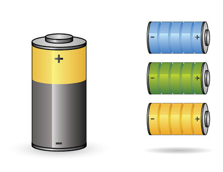 set of four batteries from empty to full charge Ilustração