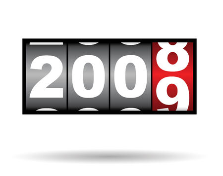 clock timer for 2008 2009 time, with shadow Stock Vector - 3645399