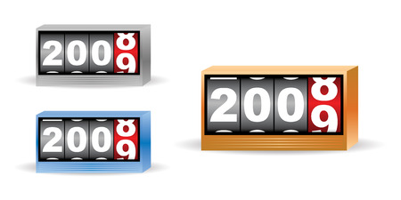 set of three clock timers for 2008 2009 time Vector