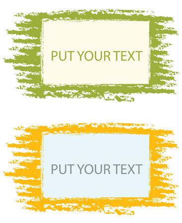 set of two color grunge frames in vector