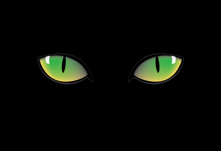 blue eye: green cat eyes in dark nigth Illustration
