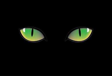 ojos verdes: ojos verdes de gato en la oscuridad nigth Vectores