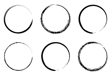 brush stroke: grunge circles for coffee or black paint Illustration