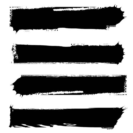 tough: set of four grungy banners black and white