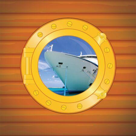 porthole cruise liner in caribbean sea  photo