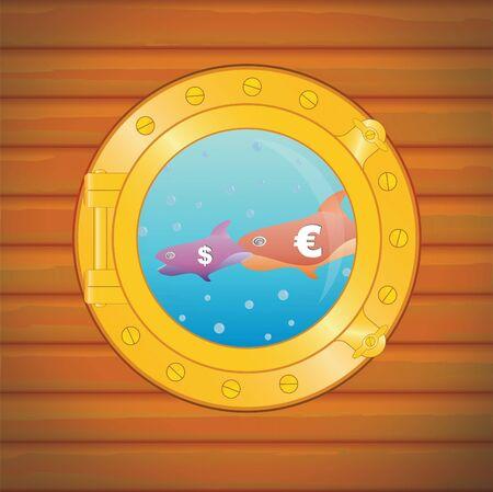 porthole dollar euro fish, big eats small photo