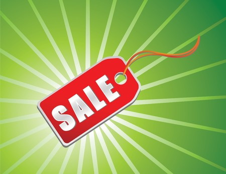 sale tag in red with green background for xmas Stock Photo - 4030282