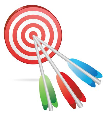 target with three color arrows in center photo