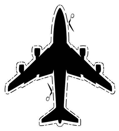 airplane: airplane silhouette with cut lines and scissors