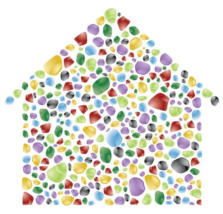 house: house made with color rocks