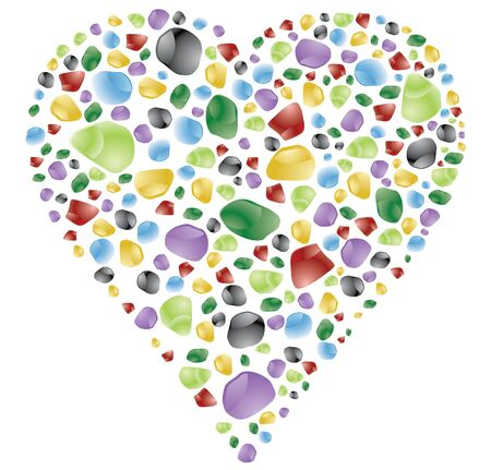 heart shape made with color gems or stones photo