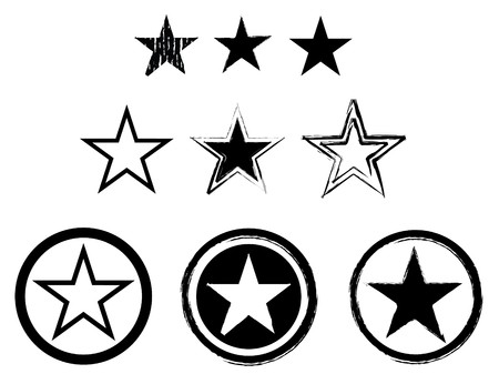 star border: set of stars in black and white for army or navy Stock Photo