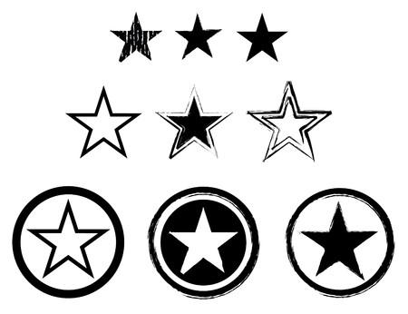 set van sterren in zwart en wit voor het leger of de marine